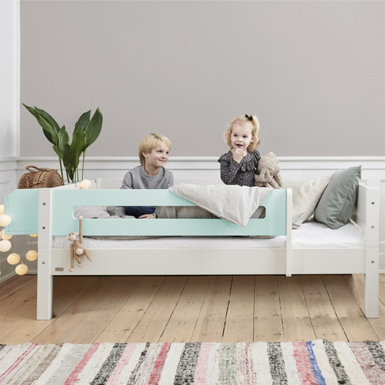 Morden Kids Wooden Day Bed In White And Azur Mint Saftey Rail