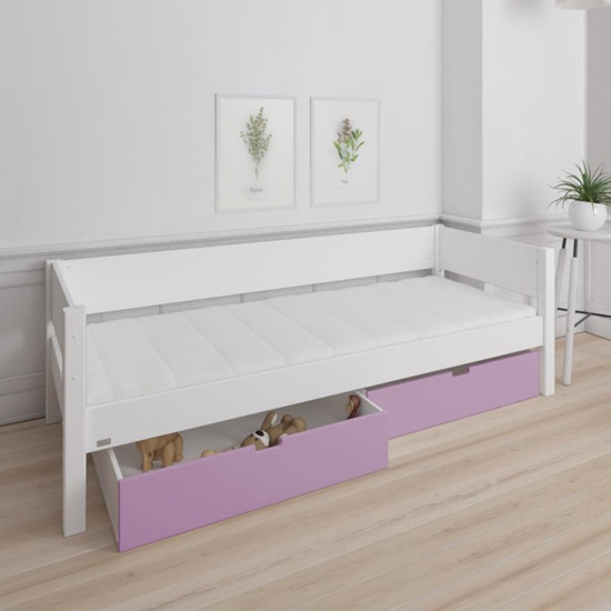 Morden Kids Wooden Day Bed In White With Dusty Rose Drawers