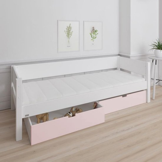 Morden Kids Wooden Day Bed In White With Light Rose Drawers