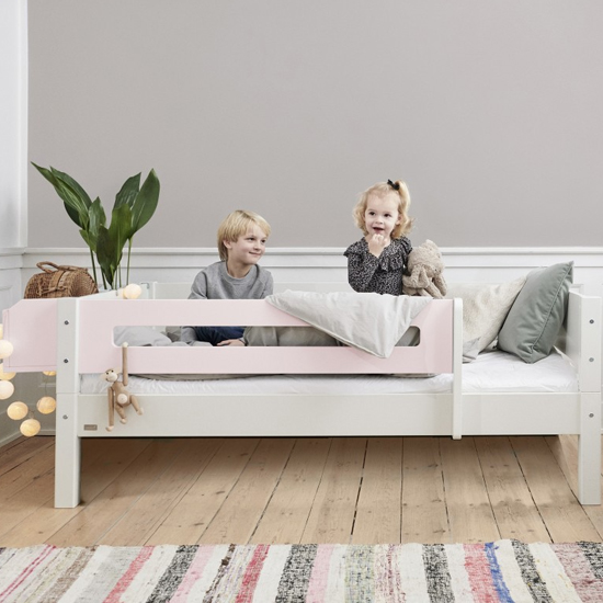 Morden Kids Wooden Day Bed In White And Light Rose Saftey Rail