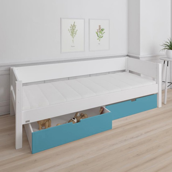 Morden Kids Wooden Day Bed In White With Petroleum Drawers