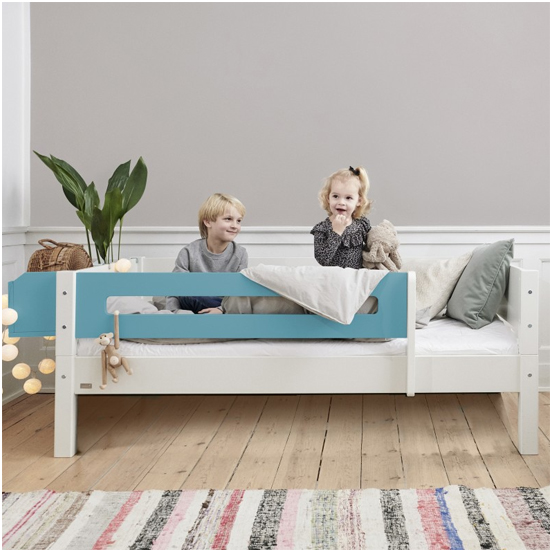 Morden Kids Wooden Day Bed In White And Petroleum Saftey Rail