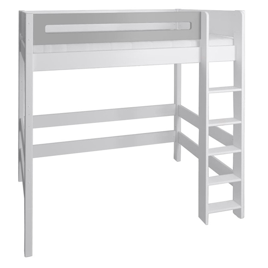 Morden Kids High Sleeper Bed With Safety Rail In Silver Grey_2