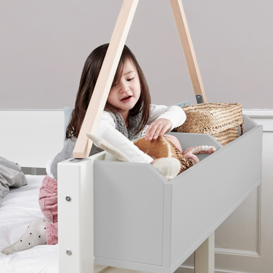 Morden Kids High Sleeper Bed With Safety Rail In Silver Grey_5