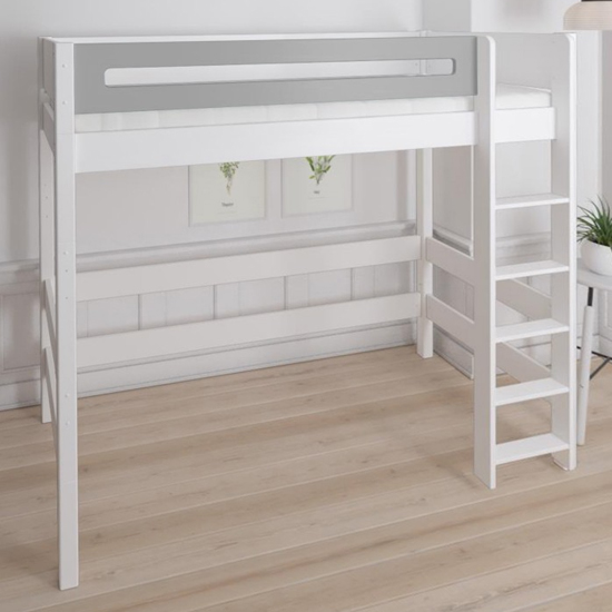 Morden Kids High Sleeper Bed With Safety Rail In Silver Grey_1