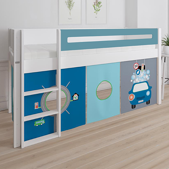 Morden Kids Mid Sleeper Bed In Petroleum With Carwash Curtain