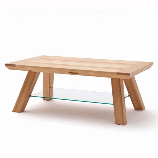 Morely Wooden Coffee Table In Core Beech With Glass Shelf