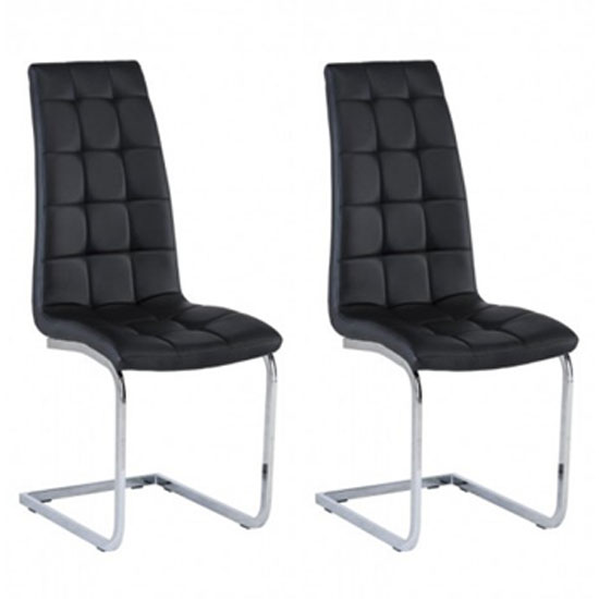 Moreno Black Faux Leather Dining Chair In A Pair