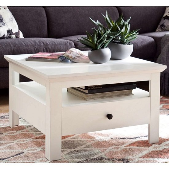 View Moreno wooden storage coffee table in white with 1 drawer