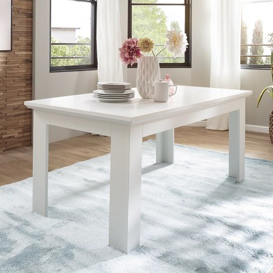 Moreno Wooden Extendable Dining Table In White