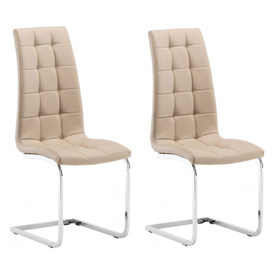 Moreno Stone Faux Leather Dining Chair In A Pair