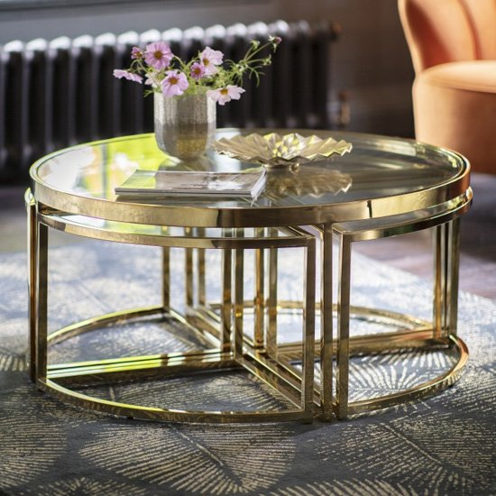 Moresco Glass Coffee Table In Gold