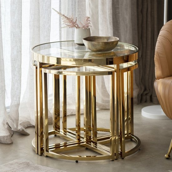 Moresco Glass Side Table With Gold Frame