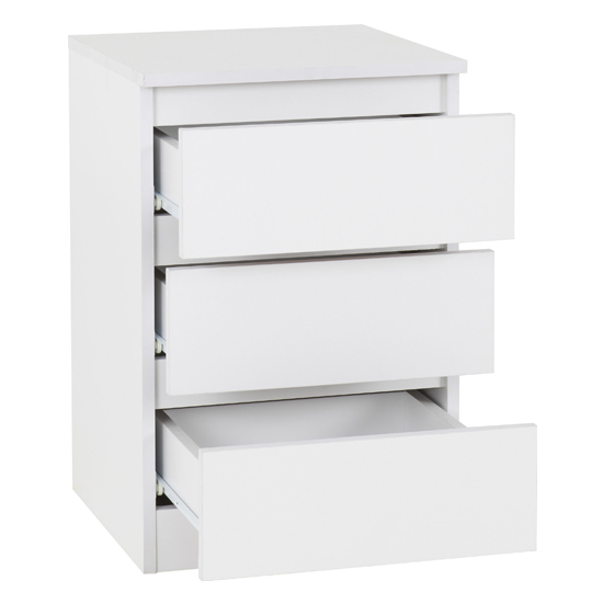 Moretti Wooden Bedside Cabinet In White With 3 Drawers_2