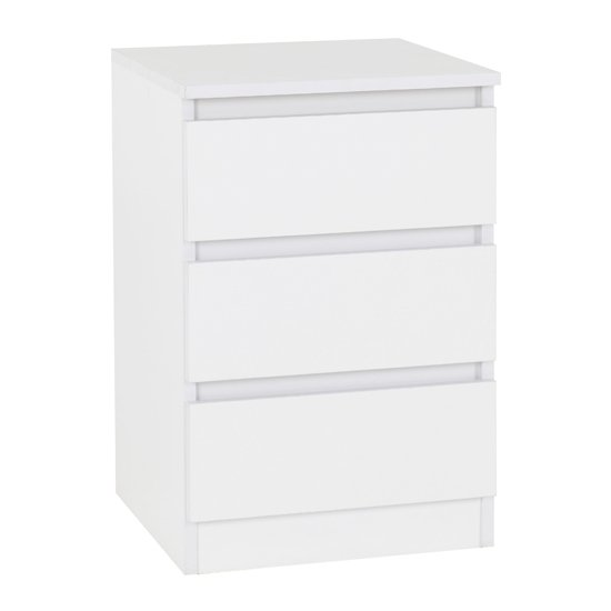 Moretti Wooden Bedside Cabinet In White With 3 Drawers_1