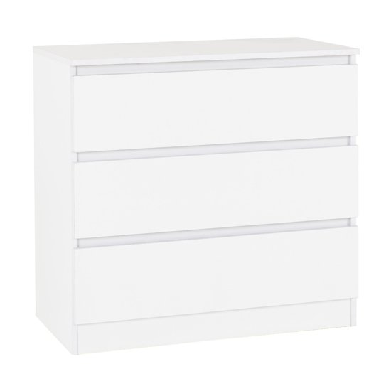 Moretti Wooden Chest Of Drawers In White With 3 Drawers