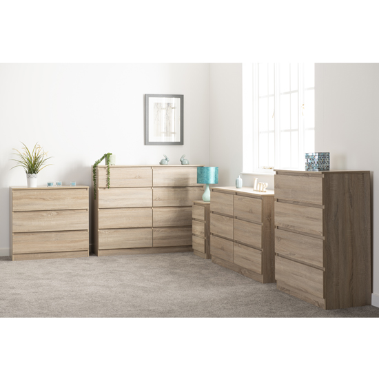 Moretti Wooden Chest Of Drawers In Sonoma Oak With 4 Drawers_4