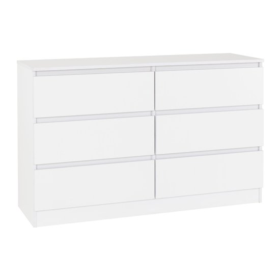 View Moretti wooden chest of drawers in white with 6 drawers