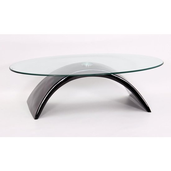 Morgan Fibre Glass Glass Coffee Table In Black High Gloss