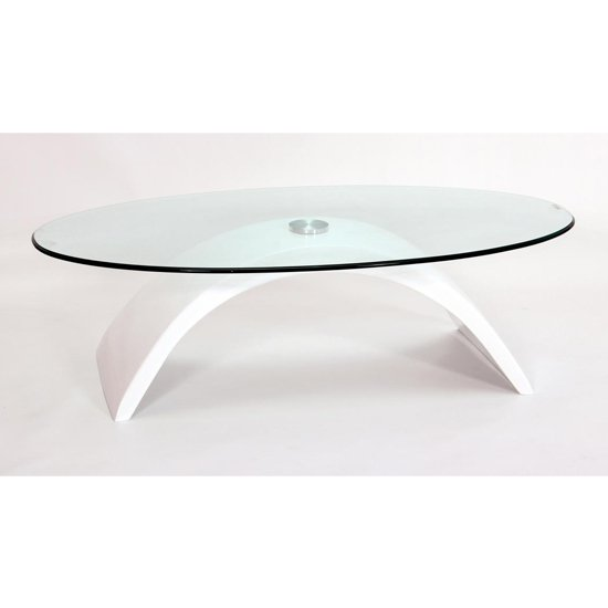 Morgan Fibre Glass Glass Coffee Table In White High Gloss