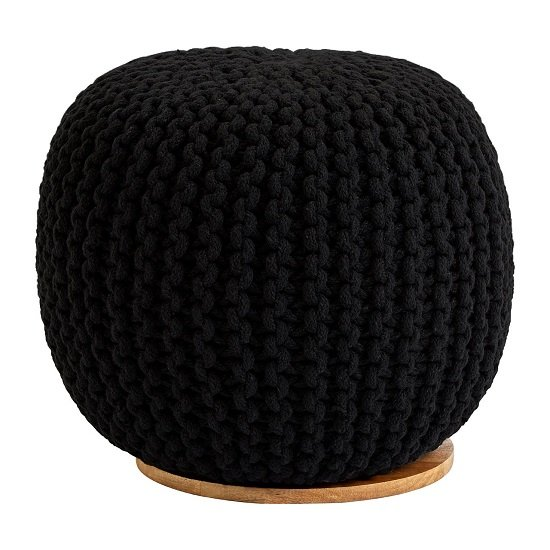 Morgan Woven Pouffe In Black With Wooden Plate_3