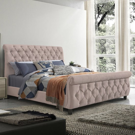 Morvey Velvet Fabric Ottoman King Size Bed In Blush Pink