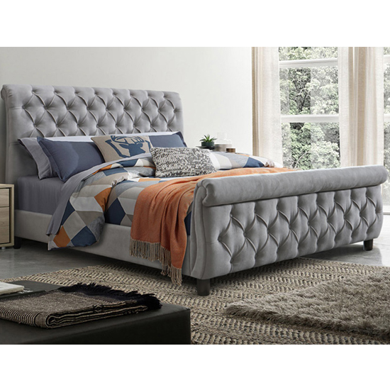 Morgan Velvet Fabric Ottoman King Size Bed In Grey