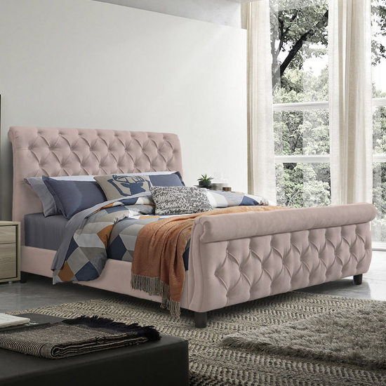 Morgan Velvet Fabric Super King Size Bed In Blush Pink