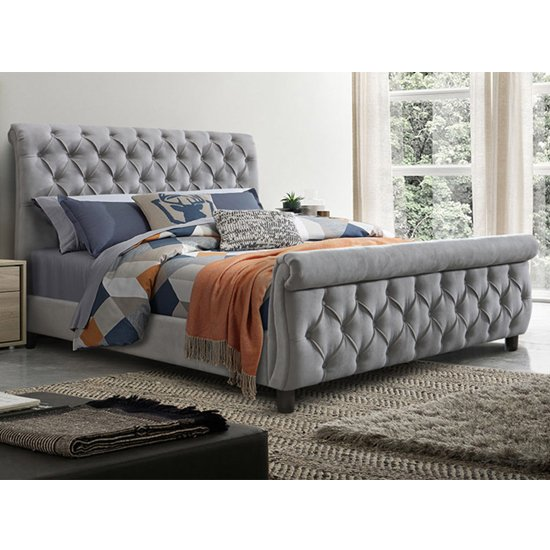 Morvey Velvet Fabric Super King Size Bed In Grey