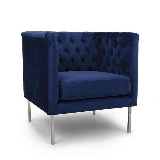 Morgen Arm Chair In Indigo Blue Brushed Velvet