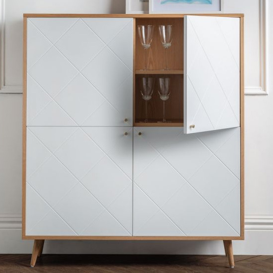 Moritz Wooden Highboard In White And Oak Effect With 4 Doors_2