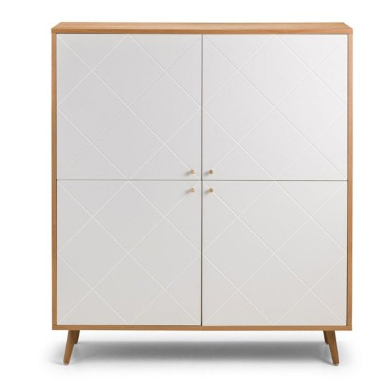 Moritz Wooden Highboard In White And Oak Effect With 4 Doors_3