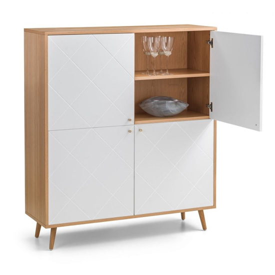 Moritz Wooden Highboard In White And Oak Effect With 4 Doors_4