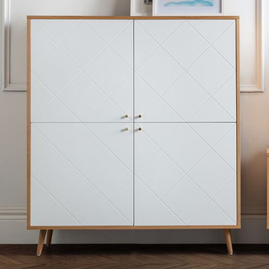 Moritz Wooden Highboard In White And Oak Effect With 4 Doors