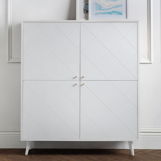 Moritz Wooden Highboard In White With 4 Doors