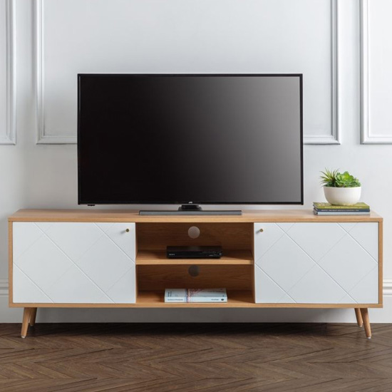 Moritz Wooden TV Stand In White And Oak Effect With 2 Doors