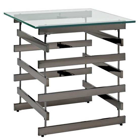 Moritz Glass End Table Large In Clear With Black Nickel Frame