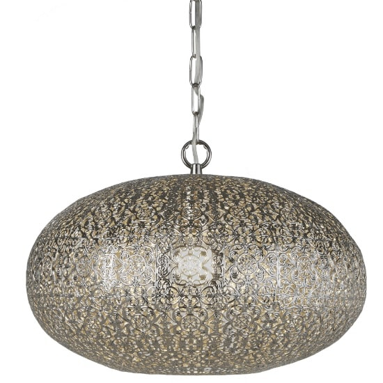 Moroccan 1 Light Large Pendant In Shiny Nickel