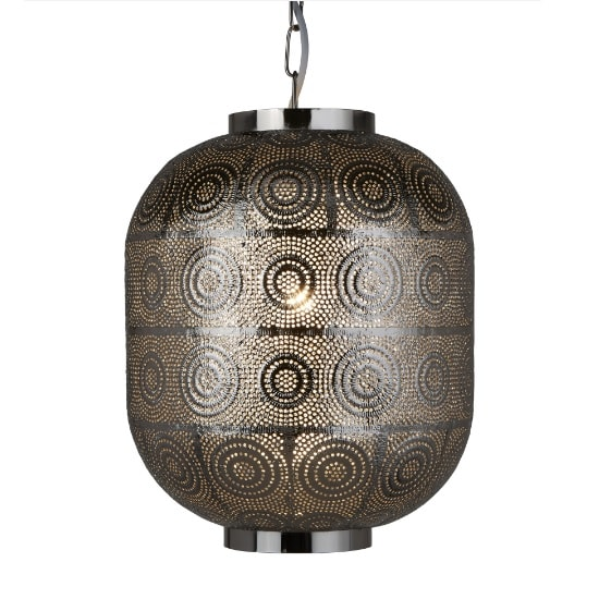 Moroccan 1 Light Pendant In Shiny Nickel