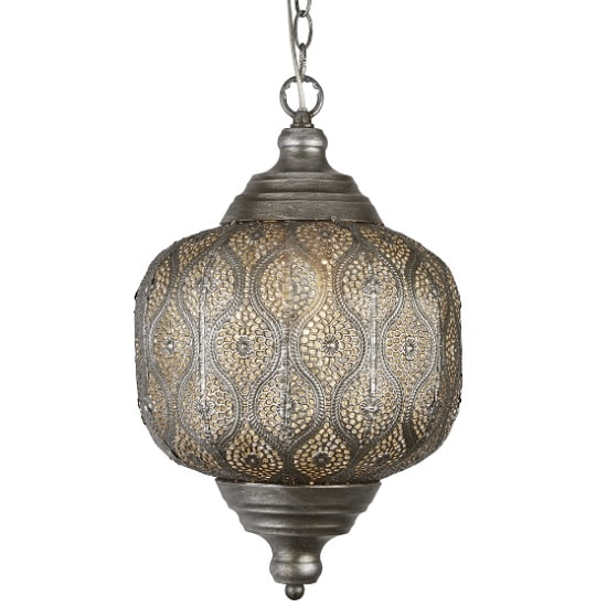 Moroccan 1 Light Pendant In Antique Silver