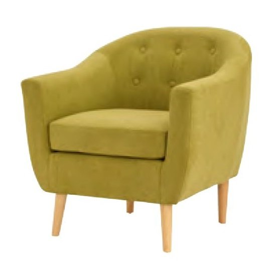 Morrill Woven Fabric Accent Chair In Olive With Oak Legs