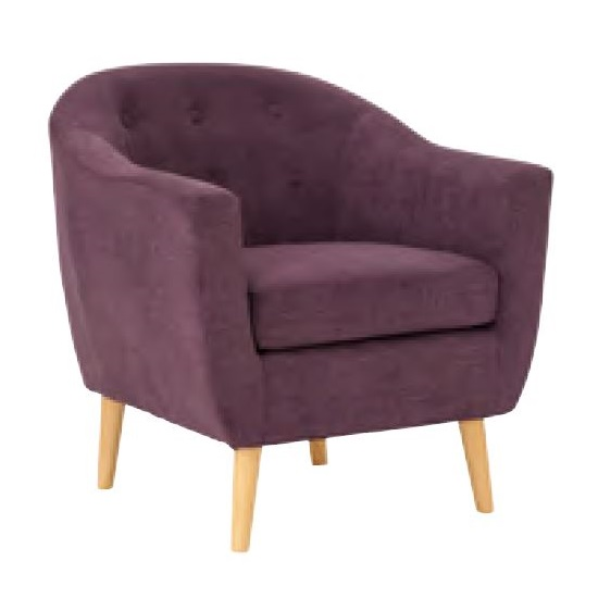 Morrill Woven Fabric Accent Chair In Plum With Oak Legs_1