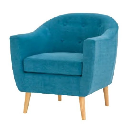 Morrill Woven Fabric Accent Chair In Teal With Oak Legs_1