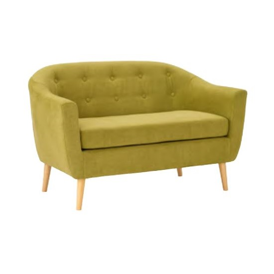 Morrill Woven Fabric Two Seater Sofa In Olive With Oak Legs_1