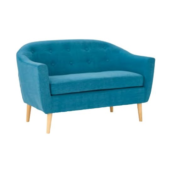 Morrill Woven Fabric Two Seater Sofa In Teal With Oak Legs
