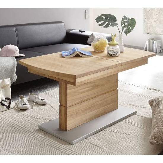 Morris Extendable Coffee Table In Beech Heartwood And Lift Top