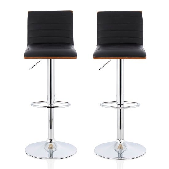 Morsun Bar Stools In Walnut And Black PU In A Pair