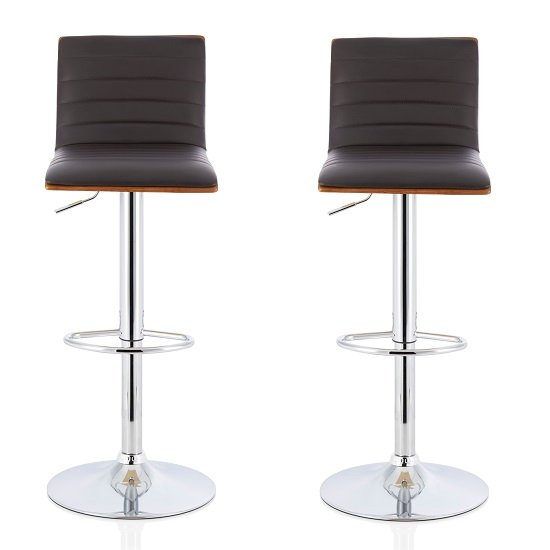 Morsun Bar Stools In Walnut And Brown PU In A Pair
