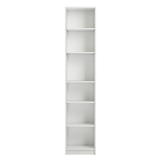 Morton Narrow Shelving Unit In White With 6 Open Compartments