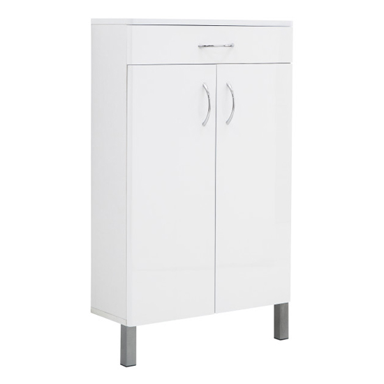 Mortos 2 Doors 1 Drawer Bathroom Cabinet In White High Gloss_5
